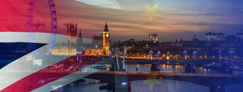 UK and EU flag over London